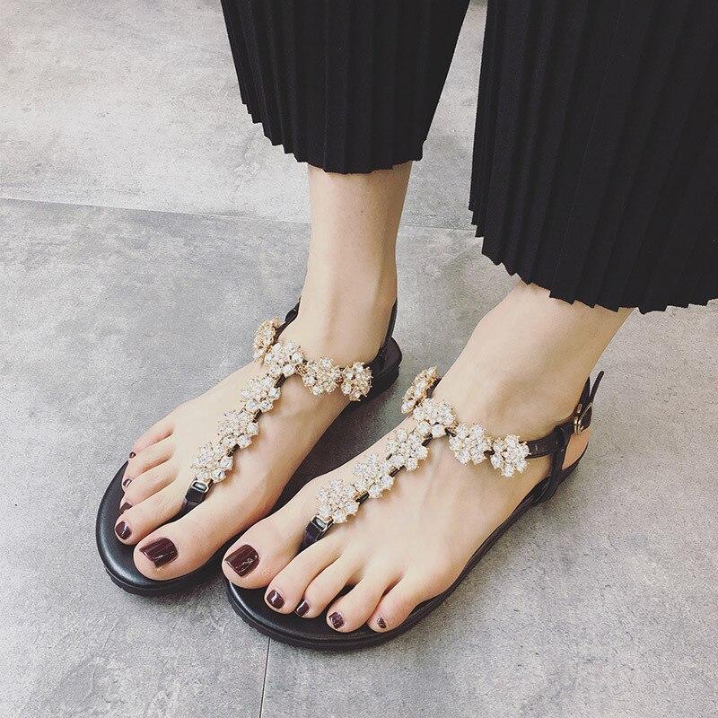 Sandales fond plat strass fleur sandales chausson femmeSandales fond plat strass fleur sandales chausson femme