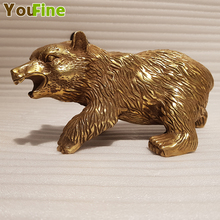 Small size bronze bear sculpture desktop decoration simulation animal interior traditional Chinese ancient craft