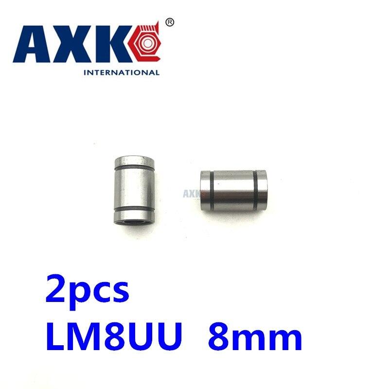 AXK 2019 Trilho Linear Cnc Peças Roteador Frete Grátis 2 pçs/lote Lm8uu 8mm Rolamento De Esferas Lineares Bucha de Impressora 3d partes Lm8 Cnc