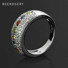 цена на BEEROSERY Stainless Steel Rings For Women Bohemian Multi Color Round Ring Crystal Diamante Vintage Fashion Jewelry Accessories