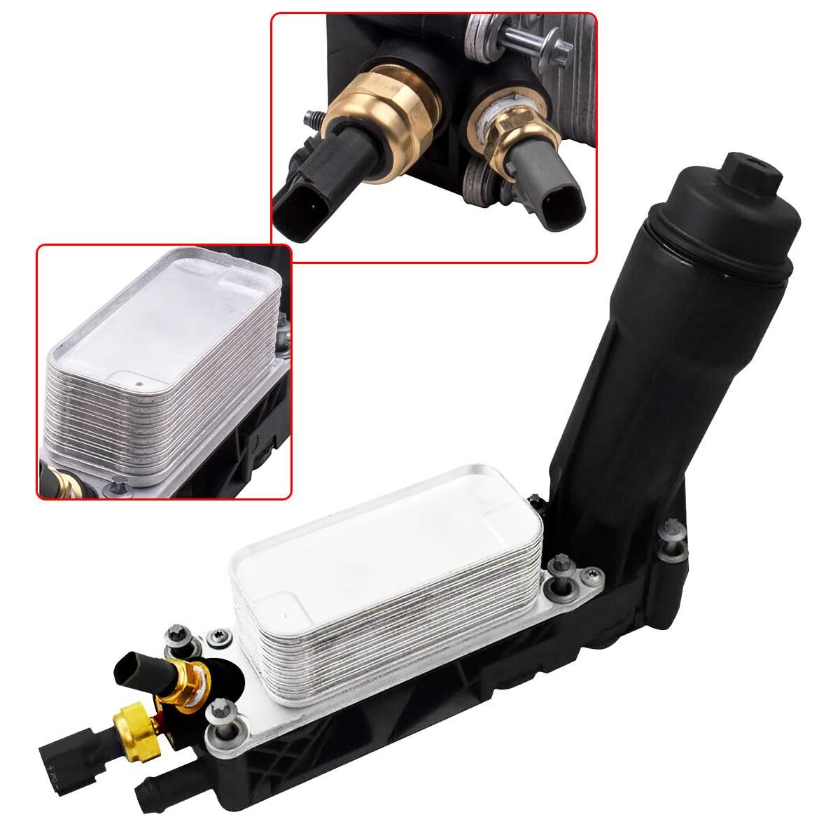 Logement de filtre de refroidisseur d'huile de voiture avec 2 capteurs pour Jee p Dodg e Chrysler Ram 3.6L V6 5184294AE 5184294AD 5184294AC refroidisseur d'huile de moteur