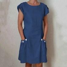 S-5Xl Plus Size Summer Slim Dress Women Short Sleeve Pockets Button Solid Dresses