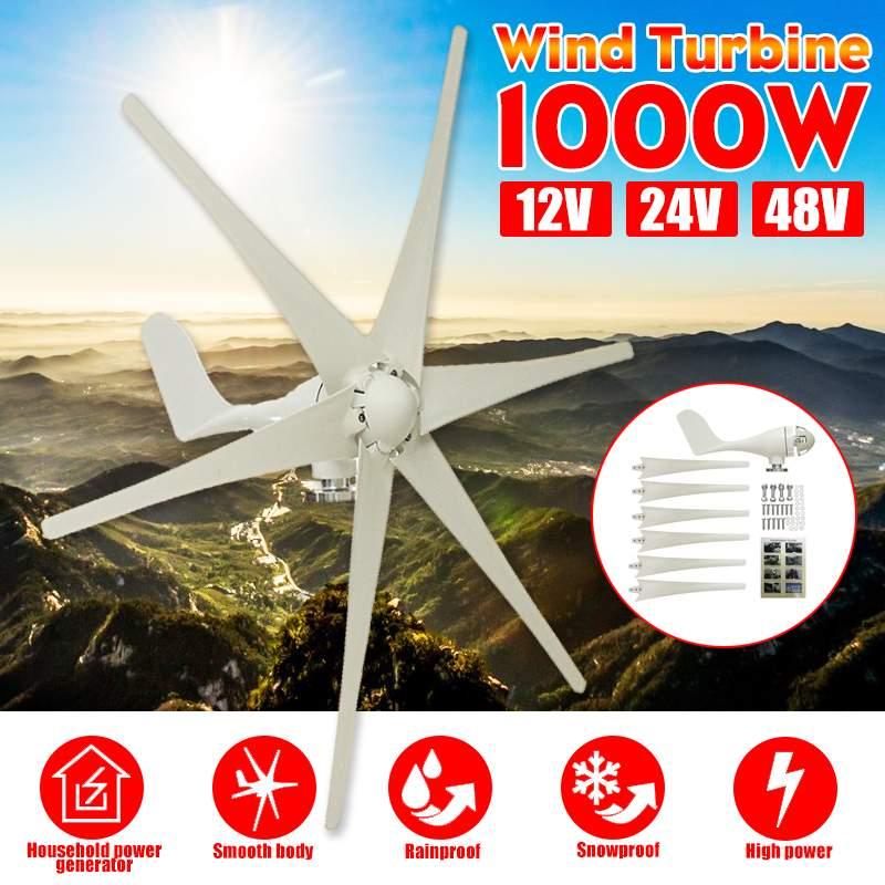 1000W 12V 24 V 48 Volt 6 Nylon Fiber Blade Horizontal Home Wind Turbines Wind Generator Power Windmill Energy Turbines Charge1000W 12V 24 V 48 Volt 6 Nylon Fiber Blade Horizontal Home Wind Turbines Wind Generator Power Windmill Energy Turbines Charge