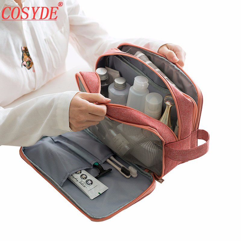 Cosyde Men Toiletry Kit Polyester Travel Cosmetic Bag For Make Up Portable Women Makeup Bag Organizer For Handbag Zipper Pouch