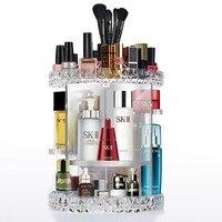 360 Rotating Cosmetics Organizer Adjustable Multi Function Cosmetic Storage Box Desktop Women Clear Acrylic Organizer for Makeup