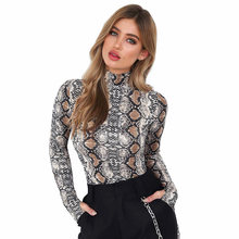 Snake Skin Print Bodysuit Womens Short Jumpsuit Turtleneck Long Sleeves body  donna Press Stud Bodycon Playsuit Spring Rompers 5b01fb650