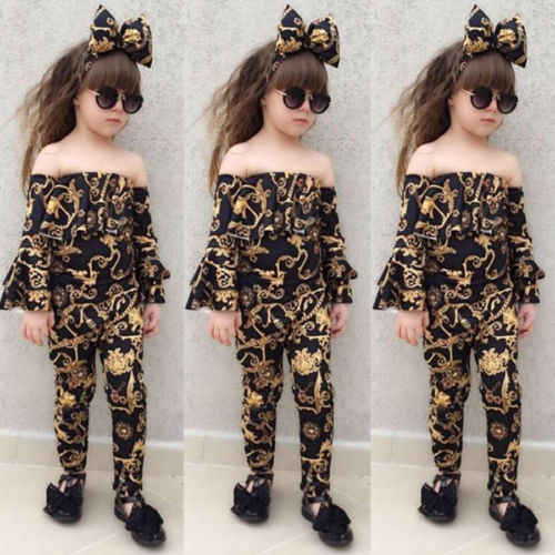 a178391ae3eb Detail Feedback Questions about 3Pcs Fashion Kids Girl Sexy Clothes Off  shoulder Flare Sleeve Crop Top+Long Pant+Headband Outfits Clothing Set For  2 7Y ...