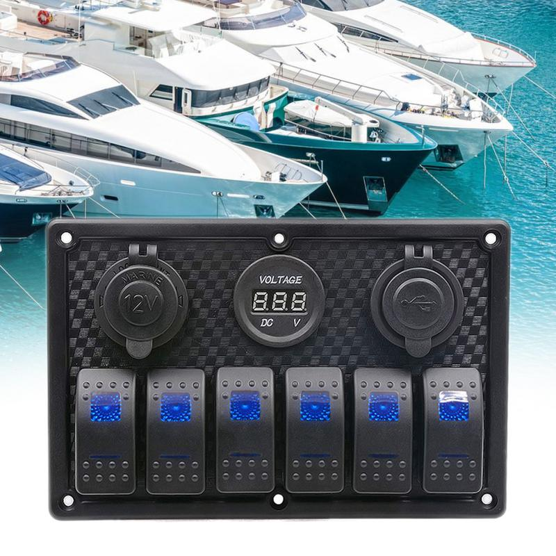 12v RV Combination 6 Position Panel With Blue Light Ship Yacht Combination Panel USB Cigarette Lighter Socket 6