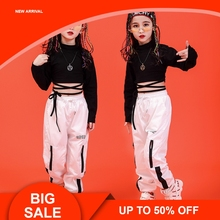 Girls Dance Costume Kids Pant And Long Sleeve Crop Black Tops 2pcs Hip Hop Clothes Set For 2019