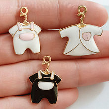 20pcs Exquisite enamel Color jumpsuit hanger charms pendants 2.3*1.6cm Antique silver bag craft Jewelry earring bracelet(China)