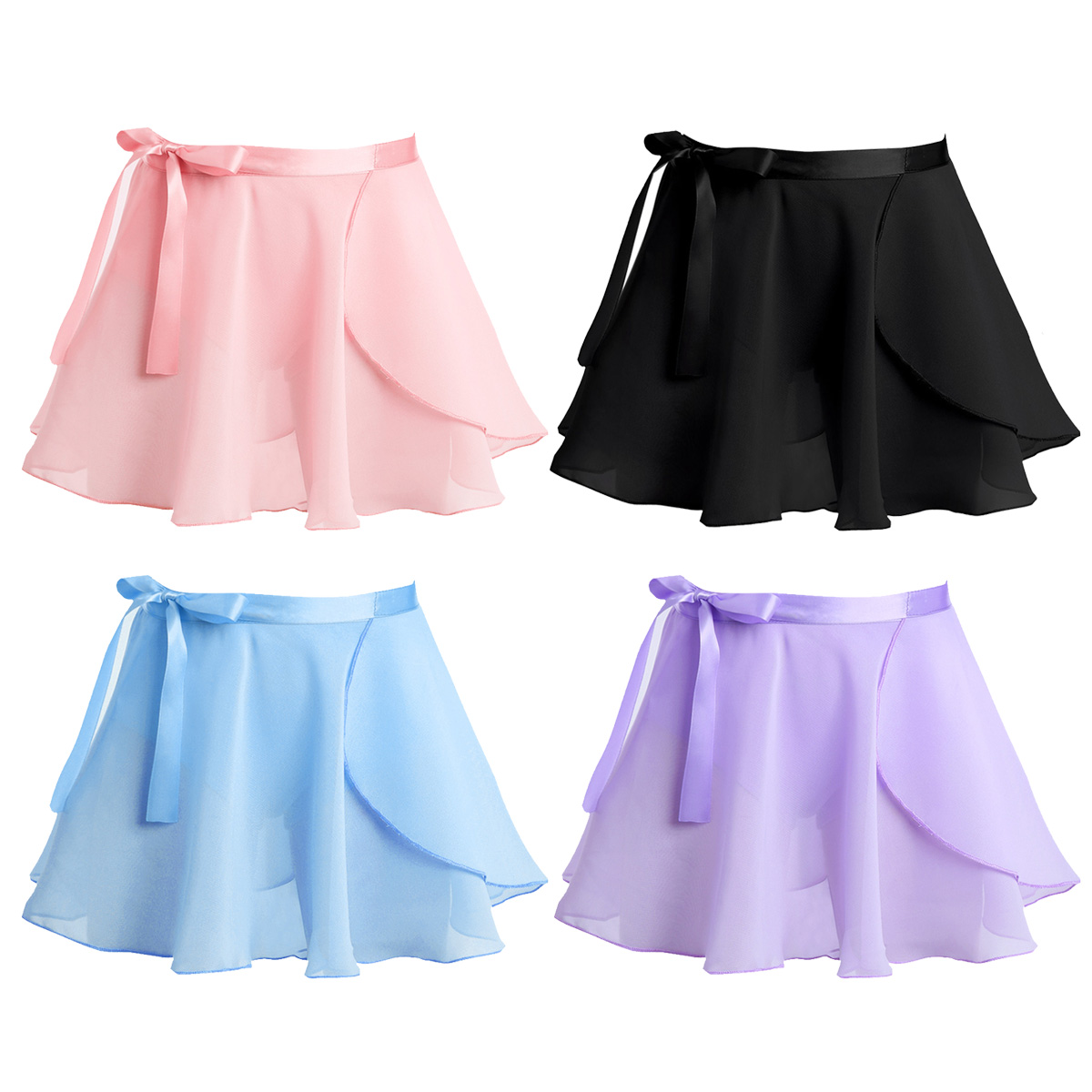 Toddler Kids Girls Dance Basic Chiffon Wrap Skirt Skating Ballet Tutu Dresses
