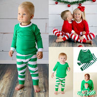 Winter and Autumn boys girls clothes New Kids Fashion Santa Christmas outfit with stripes pants 2 piece set