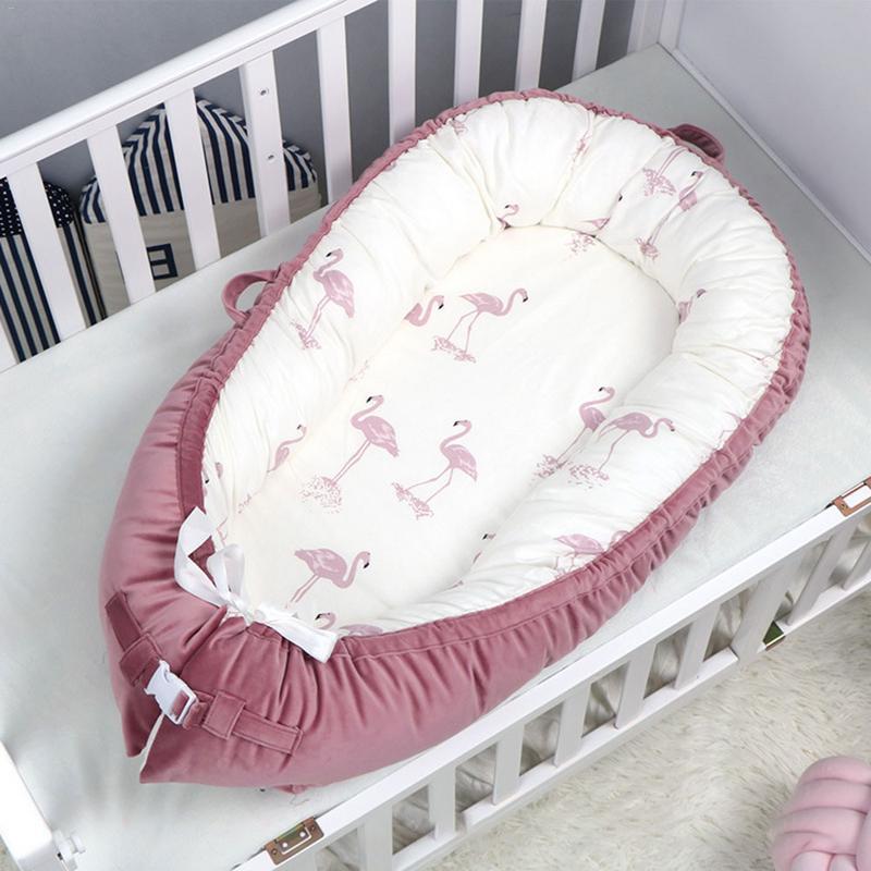 Lit bébé nid berceau Portable amovible et lavable lit de voyage pour enfants bébé enfants flanelle coton velours berceau Mattres - 2