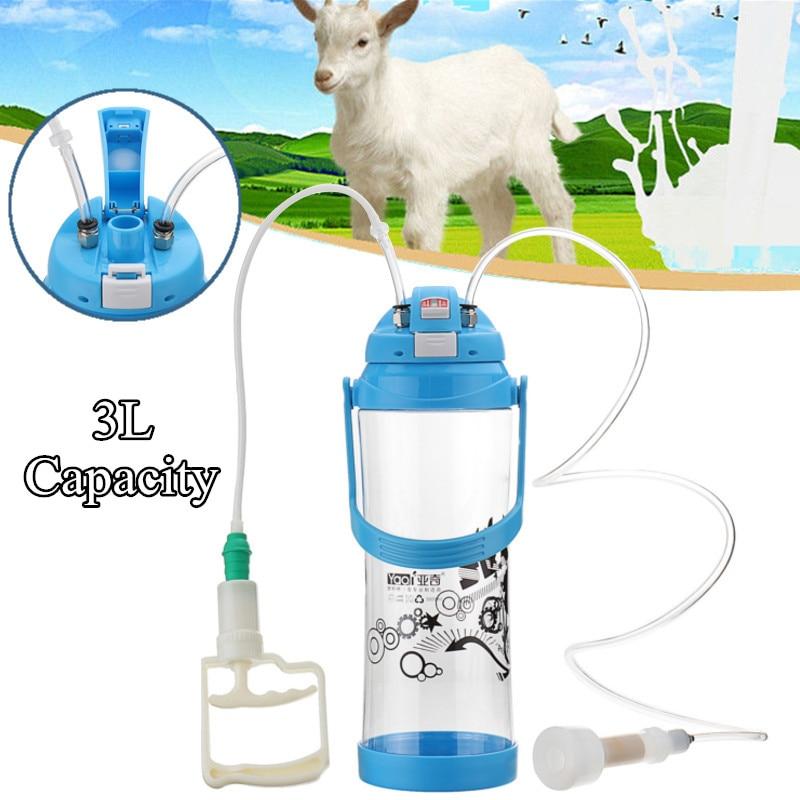 Portable Hand Barrel 3L Milking Machine Goat Sheep Milker Vacuum Cattle Bottles