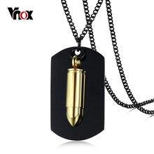 a5fc05109e3d Vnox oro tono abierta bala colgante collar de la joyería de los hombres  Punk negro Etiqueta