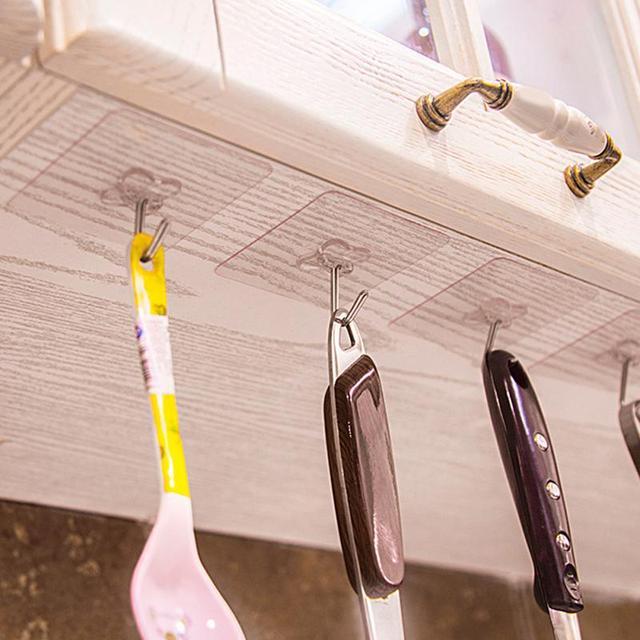 6Pcs Klebstoff Haken Starke Klebrige Küche Haken Wand Aufhänger Decke Haken Reusable Haken für Bad und Küche