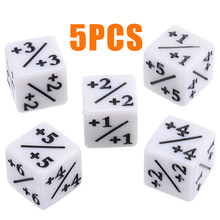 5Pcs White Dice Counters Negative +1/+1 For Magic The Gathering MTG Funny Table Desktop Party Bar Gambling Games Tool(China)