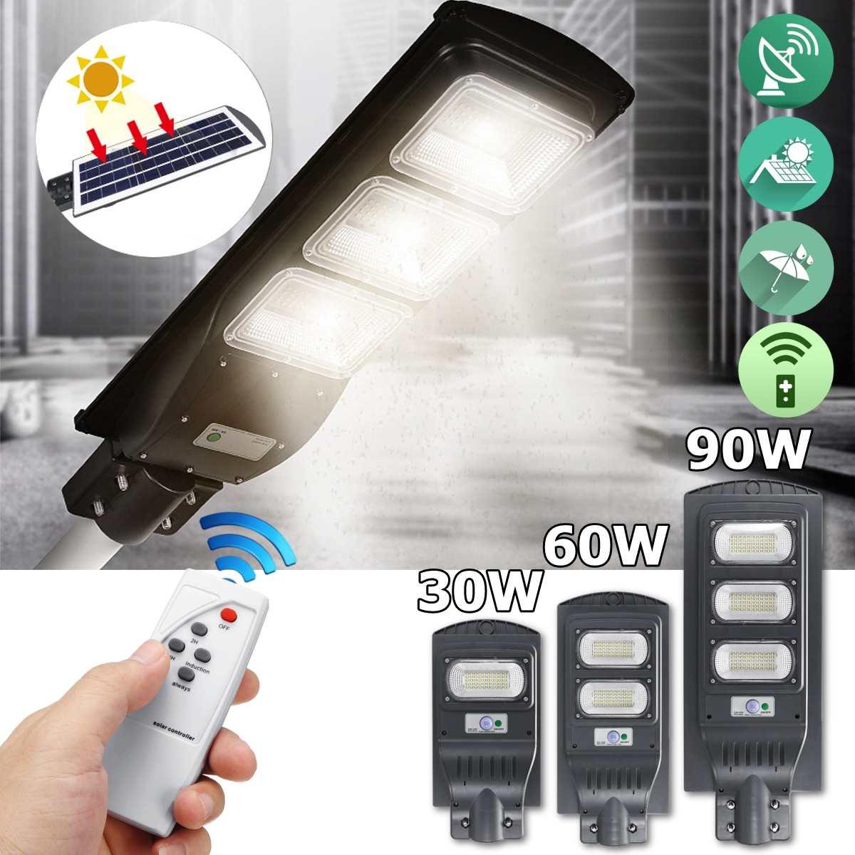 LED Street Light 30/60/100W LED Solar Light Radar PIR Motion Sensor Wall Timing Lamp+Remote Waterproof For Plaza Garden Yard