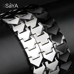 Image 4 - Tungsten Links Bracelets for Men High Polished Inlay Health Magnetic Stones Three Color, Free Shipping, Customized