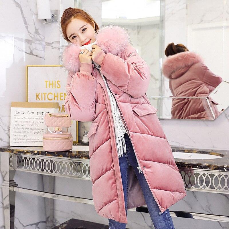 2018 Velvet Down   Parka   Winter Women Long Slim Jacket Big Fur Collar Overcoat For Female Fashion Plus Size   Parka   Winter Coats