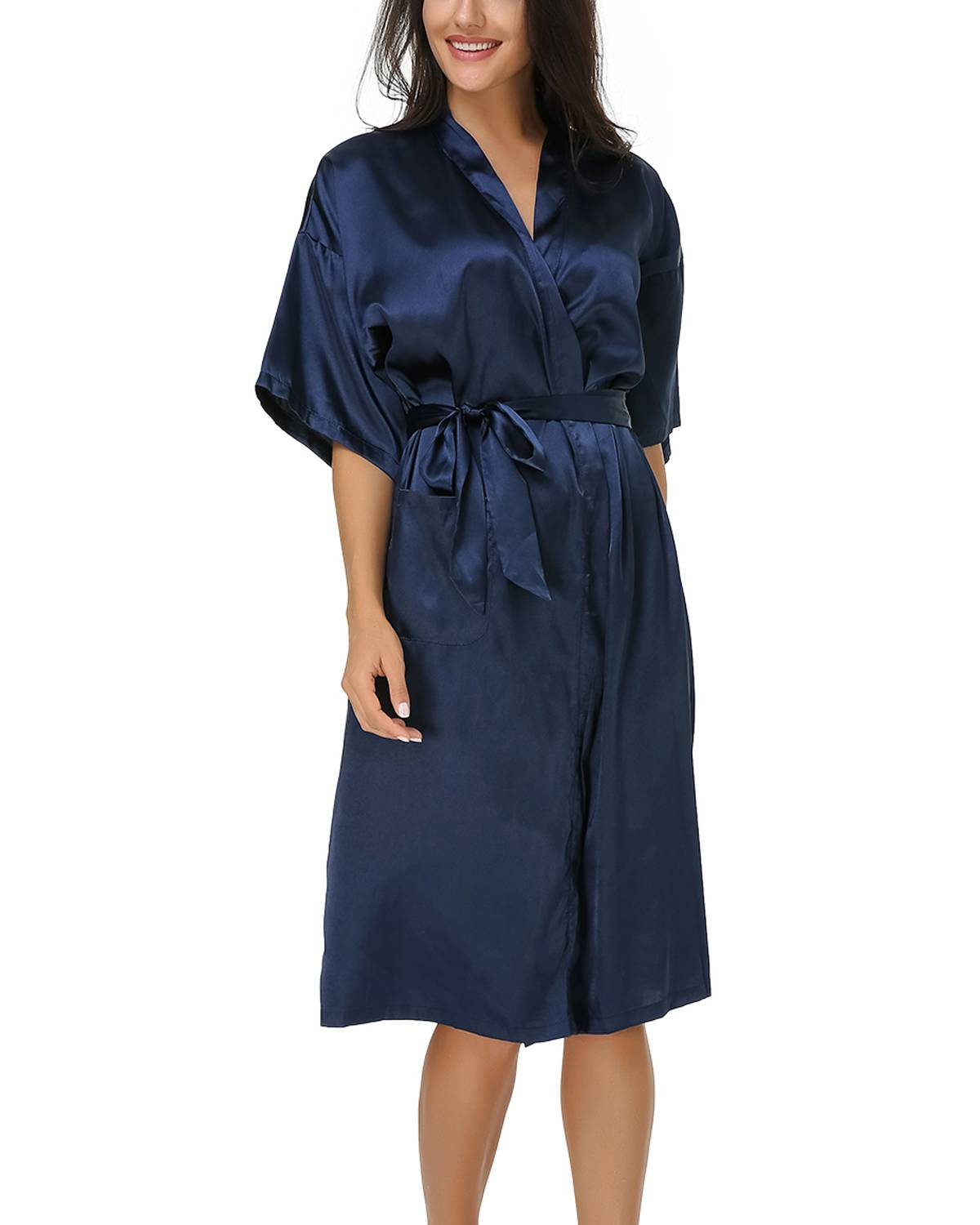 Plus Size Silk Sleepshirts Women 2019 Summer Casual Loose Sexy V-Neck Half Sleeve Mid-Calf Pockets Nightgowns Solid Belt Lounge