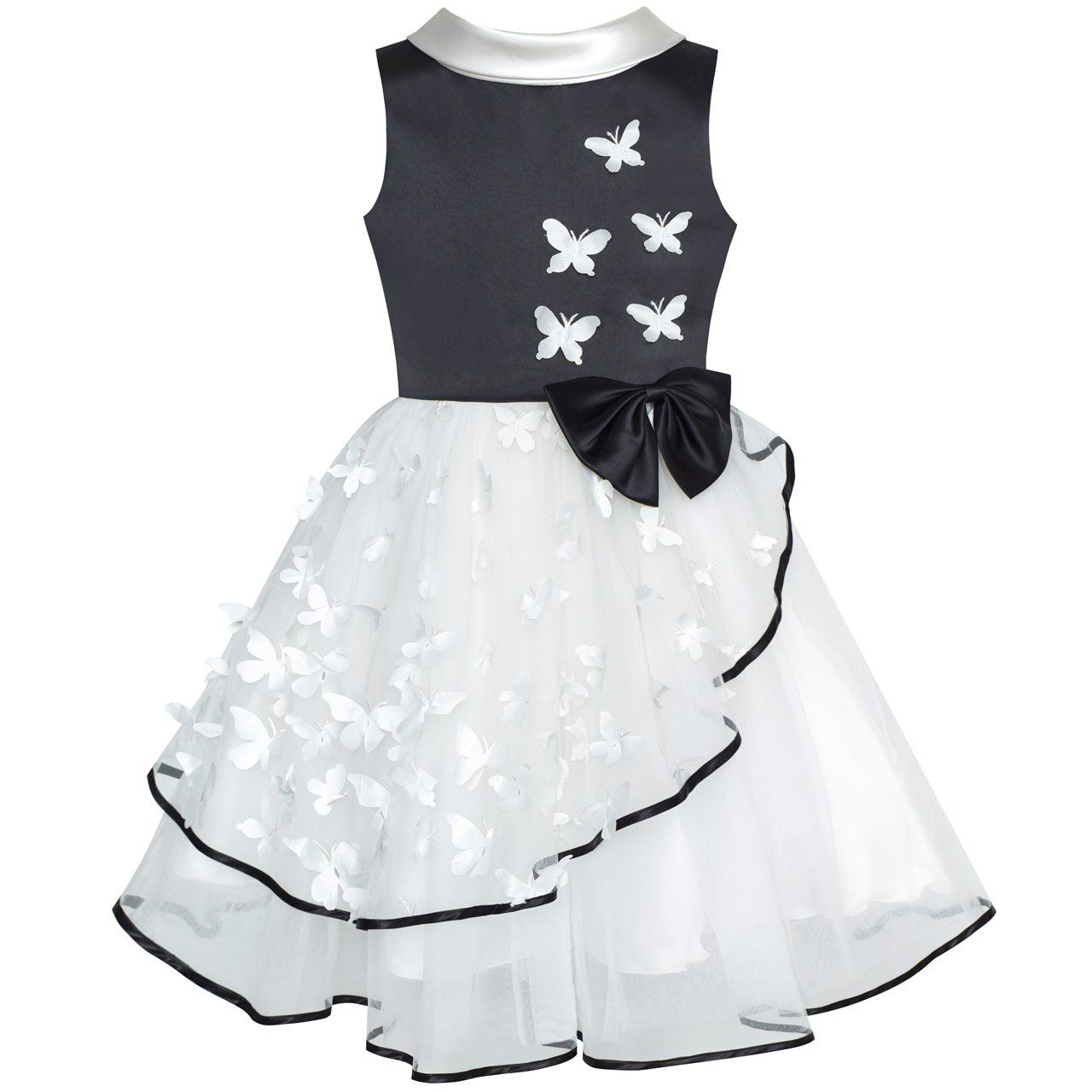 Flower Girls Dress White and Black Butterfly Pageant Party 2019 Summer Princess Wedding Dresses Kids Clothes Sundress Vestidos