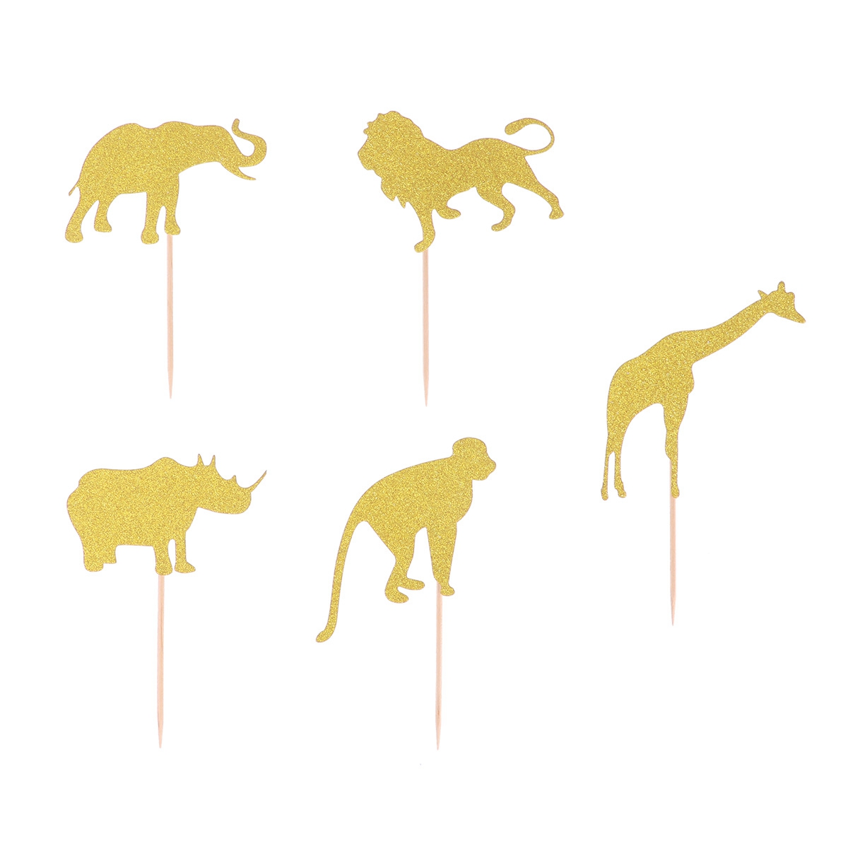 Image 4 - 10pcs Cake Topper Glitter Jungle Animals Golden Cupcake Toppers Dessert Topper Insert Card Fruit Topper For Birthday-in Cake Decorating Supplies from Home & Garden