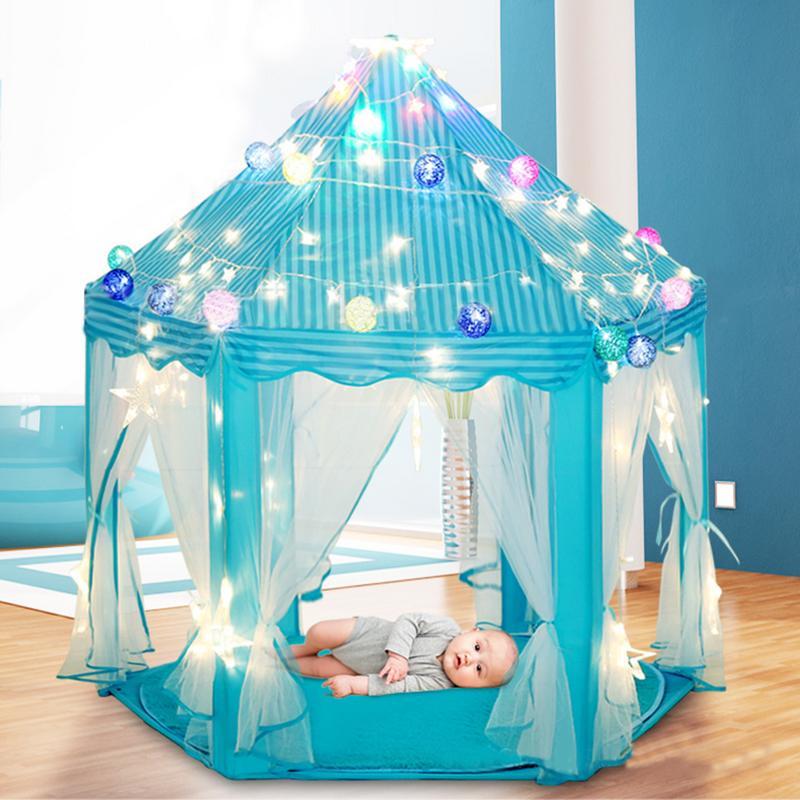 Bébé filles en plein air plage lit tente jouer maison tipi rêve hexagone princesse tentes Tunnel intérieur jouet jeu Cubby pour les enfants