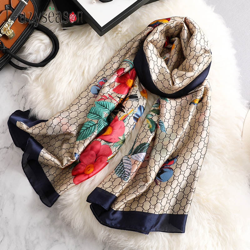 2019 New Spring Summer Silk   Scarf   women Fashion female satin shawl print   Scarves     wraps   beach stole foulard femme silky hijab