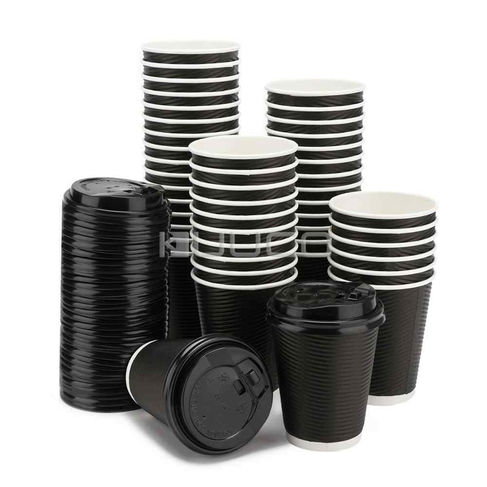 100 PCS  Paper Cups/Eco-friendly Paper Cups/Travel Mug/Disposable Cups With Lids for Coffee/Tea/milk/Chocolate/Cold Drinks etc