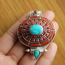 PN176 тибетский серебряный красный коралл Бусы Овальный молитвенный ящик кулон ожерелье ручной работы непальский ГАУ амулет новое поступление