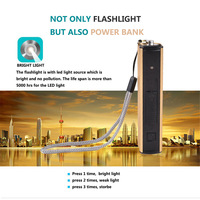 portable pocket multifunction rechargeable power bank 18650 batter led flashlight cigar lighter mini torch lanterna linteral