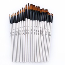 12 PCS/lot Wooden Handle Nylon Paint Brush Pen Professional Oil Watercolor Paintbrush Set Painting Drawing Art Supplies 03151