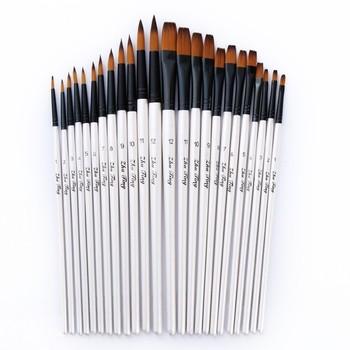 12 PCS/lot Wooden Handle Nylon Paint Brush Pen Professional Oil Watercolor Paintbrush Set Painting Drawing Art Supplies 03151 - discount item  32% OFF Art Supplies