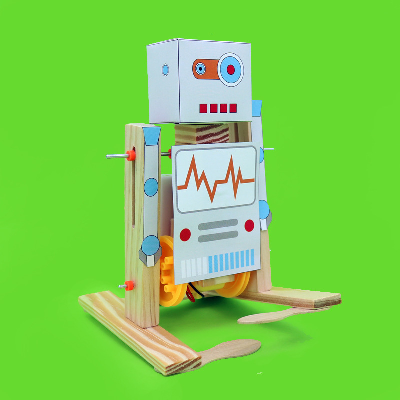 Diy Wooden Electric Science Walking Robot Toy Model Kits,physical Science Experiment Kits Creative Robot Set Educational Toys Outstanding Features Home