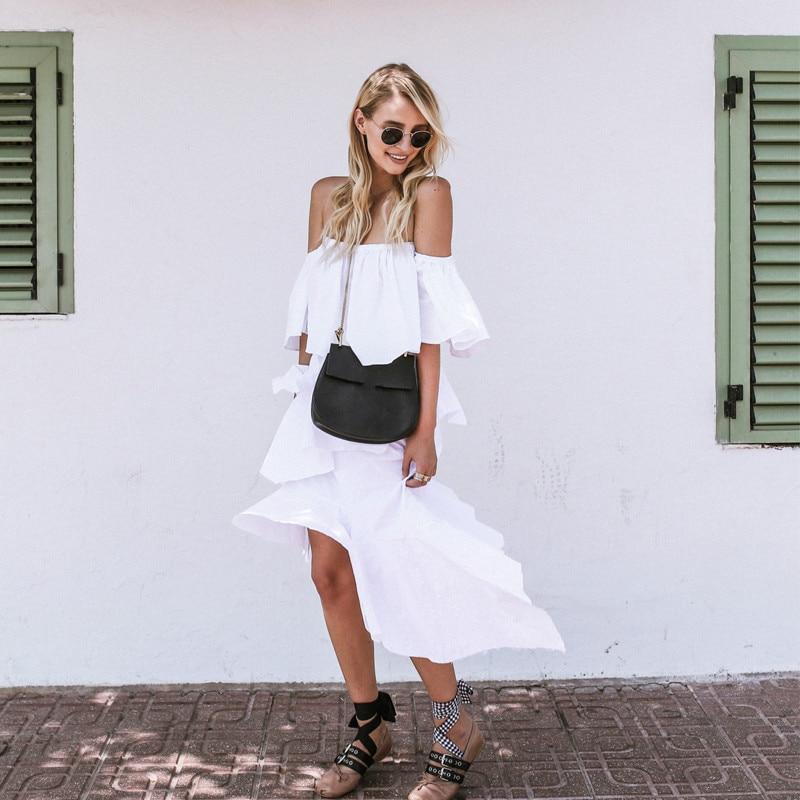 Robe Manches Asymétrique ewq Patchwork Cou D'été De Ad00100l Ruches White 2019 Slash Femmes Pour Mode Blanc Pulls Décontracté IRxOwqfR8