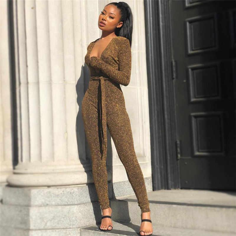 Блестящий сексуальный женский комбинезон с глубоким v-образным вырезом топ длинные брюки дамы блестящая Клубная одежда однотонный комбинезон с длинными рукавами