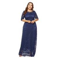 Plusee Plus Size Women Maxi Dresses 5XL 6XL Stylish Solid Blue Elegant Prom Evening Sexy See Through Oversize Autumn Lace Dress