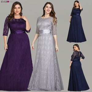 Image 1 - Elegant Plus Size Evening Dresses Long 2020 Ever Pretty EP08878GY A line Lace Half Sleeve Grey Formal Party Gowns for Wedding