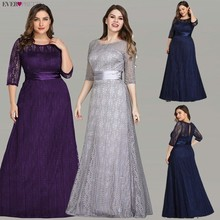 Elegante Plus Size Abendkleider Lange 2020 Immer Ziemlich EP08878GY A line Spitze Halbe Hülse Grau Formale Party Kleider für Hochzeit