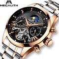 MEGALITH роскошные золотые автоматические механические мужские наручные часы мужские водонепроницаемые часы для дайвинга светящиеся часы из ...
