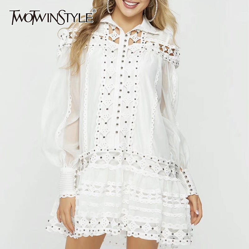 TWOTWINSTYLE Beading Patchwork Women Dress Stand Lantern Sleeve Hollow Out Loose Mini Dresses Female Fashion 2019