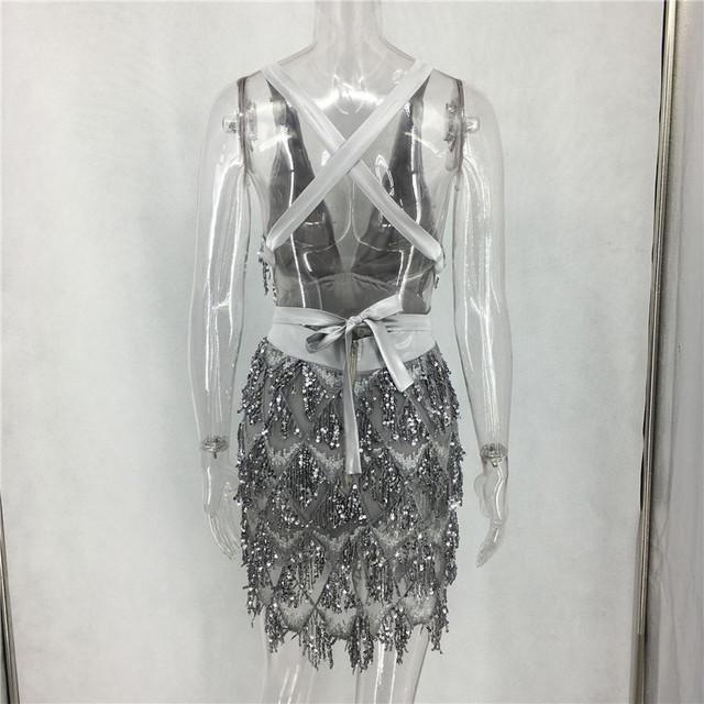 Women V Top Tassel Dress Mini Black Sequin Bandage Party Dresses Slim Lady Clubnight Sexy  Vestidos Stunning Sequin Dress
