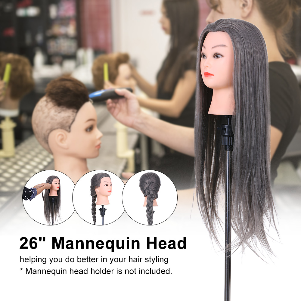 Hair Extensions & Wigs Synthetic Mannequin Head Female Hair Head Doll 22 Inches Mannequin Doll Head Hairdressing Training Heads Styling With Fiber Aesthetic Appearance