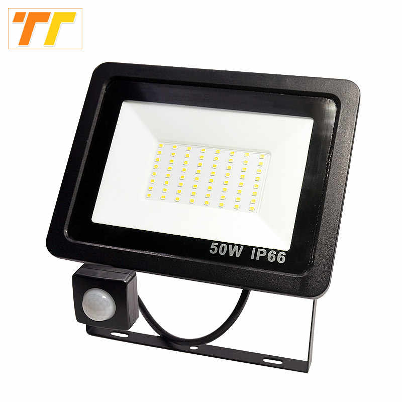 Motion Sensor LED Floodlight 100W 50W 30W 20W 10W Led Flood Light Spotlight Outdoor 220V IP66 Outdoor Wall Lamp Flood Light