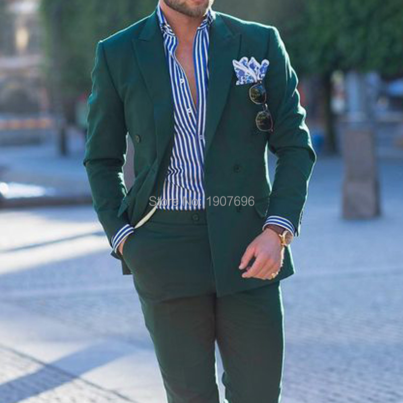 Double Breasted Dark Green Men Suits for Prom Party Suit 2019 Peaked Lapel Two Piece Jacket Pants Custom Wedding Groom Tuxedos in Suits from Men 39 s Clothing