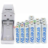 10x AA 3300mAh + 10x AAA 2000mAh White Cell Ni-Mh Energy Rechargeable Battery+ USB Charger