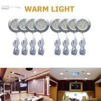 8X12V LED Warm LED Round Spot Interior Dome Ceiling Light 3W For Car RV Caravan Camper Trailer Camper Warm Light