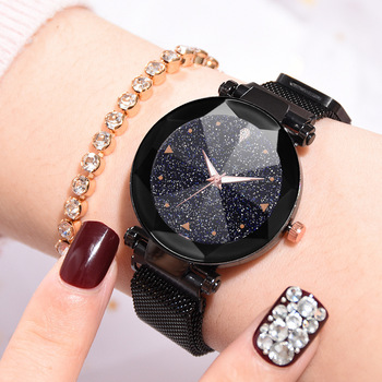 Dropshipping 2019 Hot Selling Starry Sky Watch Womens Luxury Magnetic Magnet Buckle Quartz Wristwatch Female Luminous Watches
