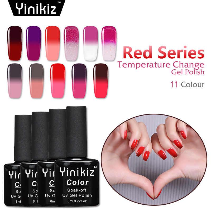 Yinikiz להבה אדום סדרת תרמו לשנות לכה משרים-off UV לטווח ארוך LED 8ml טמפרטורת זיקית נייל ג 'ל פולני Lak